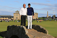 Gerry McIlroy (AM) and his son Rory McIlroy (NIR) on the Swilken Bridge at the 18th during Round 3 of the Alfred Dunhill Links Championship 2019 at St. Andrews Golf CLub, Fife, Scotland. 28/09/2019.<br /> Picture Thos Caffrey / Golffile.ie<br /> <br /> All photo usage must carry mandatory copyright credit (© Golffile | Thos Caffrey)