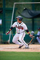 GCL Braves catcher Victor De Hoyos (2) hits a single during the second game of a doubleheader against the GCL Yankees West on July 30, 2018 at Champion Stadium in Kissimmee, Florida.  GCL Braves defeated GCL Yankees West 5-4.  (Mike Janes/Four Seam Images)