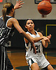 Christiana de Borja #21 of Harborfields makes a pass during a Suffolk County varsity girls basketball game against Westhampton at Harborfields High School on Tuesday, Jan. 24, 2017. Harborfields won by a score of 53-25.