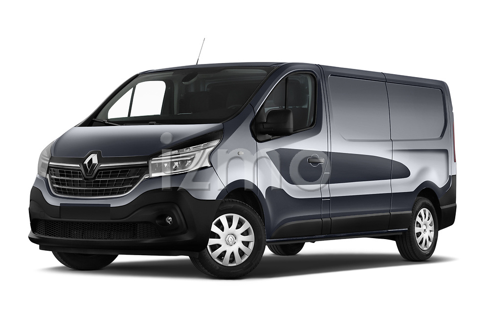 Stock pictures of low aggressive front three quarter view of a 2020 Renault Trafic Grand-Confort 4 Door Cargo Van