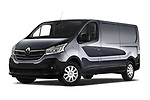 Stock pictures of low aggressive front three quarter view of a 2020 Renault Trafic Grand-Confort 4 Door Cargo Van