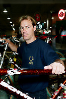 Toronto (ON) CANADA - November 15, 1997<br /> -File Photo -<br /> <br /> Former bike champion Steve Banner pose with bicycle at BTAC show in Toronto
