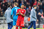 13.03.2019, Allianz Arena, Muenchen, GER, UEFA CL, FC Bayern Muenchen (GER) vs FC Liverpool (GBR) ,Achtelfinale, UEFA regulations prohibit any use of photographs as image sequences and/or quasi-video, im Bild David Alaba (FCB #27) enttaeuscht<br /> <br /> Foto © nordphoto / Straubmeier
