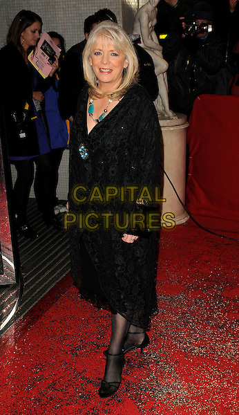 ALISON STEADMAN .The British Comedy Awards, London Television Studios, Upper Ground, London, England, 6th December 2008..full length black lace coat dress tights shoes green stone necklace brooch .CAP/CAN.©Can Nguyen/Capital Pictures