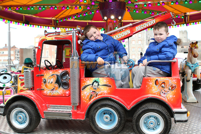 Jake and Luke Hughes at the Christmas Carousel at Scotch Hall...Photo NEWSFILE/Jenny Matthews..(Photo credit should read Jenny Matthews/NEWSFILE)