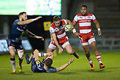 29th September 2017, AJ Bell Stadium, Salford, England; Aviva Premiership Rugby, Sale Sharks versus Gloucester; Gloucester Rugby's Jason Woodward is tackled by Sale Sharks' Sam James