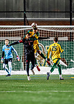 13 November 2019: University of Vermont Catamount Defender Adrian Gahabka, a Senior from Passau, Germany, heads the ball away from University of Hartford Hawk Forward Nyrik Antoine, a Junior from Baldwin, NY, at Virtue Field in Burlington, Vermont. The Catamounts fell to the visiting Hawks 3-2 in sudden death overtime of the Division 1 Men's Soccer America East matchup. Mandatory Credit: Ed Wolfstein Photo *** RAW (NEF) Image File Available ***