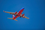 31 May 2018: A Southwest Airlines Jet flies over the ballpark during a game between the New Hampshire Fisher Cats and the Portland Sea Dogs at Northeast Delta Dental Stadium in Manchester, NH. The Sea Dogs defeated the Fisher Cats 12-9 in extra innings. Mandatory Credit: Ed Wolfstein Photo *** RAW (NEF) Image File Available ***