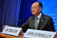Washington, DC - April 14, 2016: Jim Yong Kim, President of the World Bank Group, readies to address members of the media in the press briefing room at the IMF headquarters in the District of Columbia, April 14, 2016, during the IMF/World Bank Spring meetings.  (Photo by Don Baxter/Media Images International)