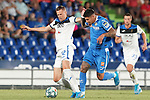 Getafe CF's Mathias Olivera (r) and Atalanta BC's Josip Ilicic during friendly match. August 10,2019. (ALTERPHOTOS/Acero)