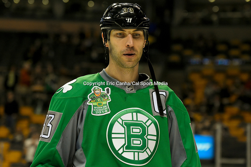 March 17, 2014 - Boston, Massachusetts , U.S. - Boston Bruins defenseman Zdeno Chara (33)  dons a green jersey in celebration of Saint Patrick's Day during the warm up period before the NHL game between the Minnesota Wild and the Boston Bruins held at TD Garden in Boston Massachusetts. The Bruins defeated the Wild 4-1 at the end of regulation.  Eric Canha/CSM