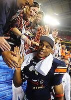 Jan 10, 2011; Glendale, AZ, USA; Auburn Tigers quarterback (2) Cameron Newton celebrates with the fans floowing the game against the Oregon Ducks in the 2011 BCS National Championship game at University of Phoenix Stadium. Auburn defeated Oregon 22-19. Mandatory Credit: Mark J. Rebilas-
