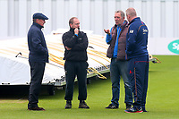 Umpire Ian Gould (L) speaks to the ground staff during Yorkshire CCC vs Essex CCC, Specsavers County Championship Division 1 Cricket at Emerald Headingley Cricket Ground on 15th April 2018