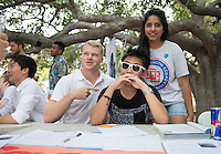 Occidental College students browse the tables at the Involvement Fair in the Academic Quad, Sept. 10, 2015. The annual event is an opportunity for students to learn about and join student-run clubs that offer a wide variety of interests.<br /> (Photo by Marc Campos, Occidental College Photographer)