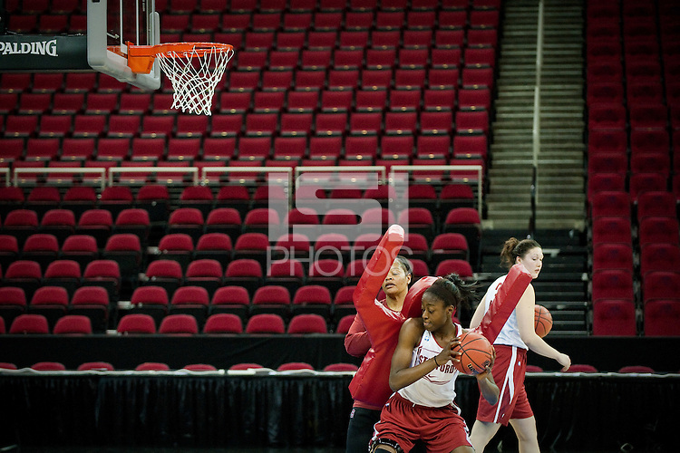 FRESNO, CA--Chiney Ogwumike works off the defense provided by Assistant Coach Trina Patterson during an off-day practice at the Save Mart Center for the 2012 NCAA Championships.