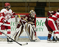 Boston, Massachusetts - October 28, 2017: NCAA Division I. Boston College (maroon) defeated Boston University (white), 4-3, at Walter Brown Arena.<br /> Katie Burt set the Hockey East career wins record with her 53rd league victory.