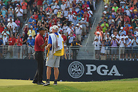 Tiger Woods (USA) sinks his birdie putt on 18 to claim second place following 4th round of the 100th PGA Championship at Bellerive Country Club, St. Louis, Missouri. 8/12/2018.<br /> Picture: Golffile | Ken Murray<br /> <br /> All photo usage must carry mandatory copyright credit (&copy; Golffile | Ken Murray)