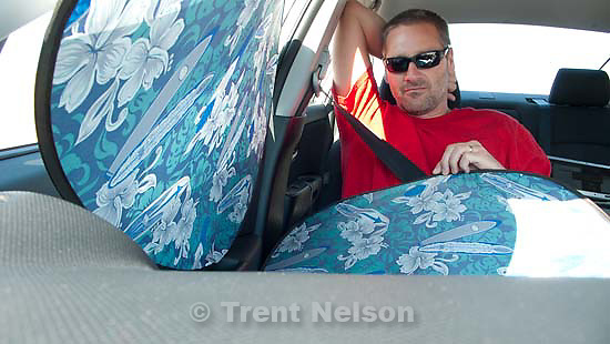 Scipio -Trent Nelson in Brooke's car with sunshades, Monday August 10, 2009..