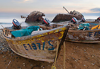 Fishing boats and shipwreck at point San Jacinto, Baja, Mexico