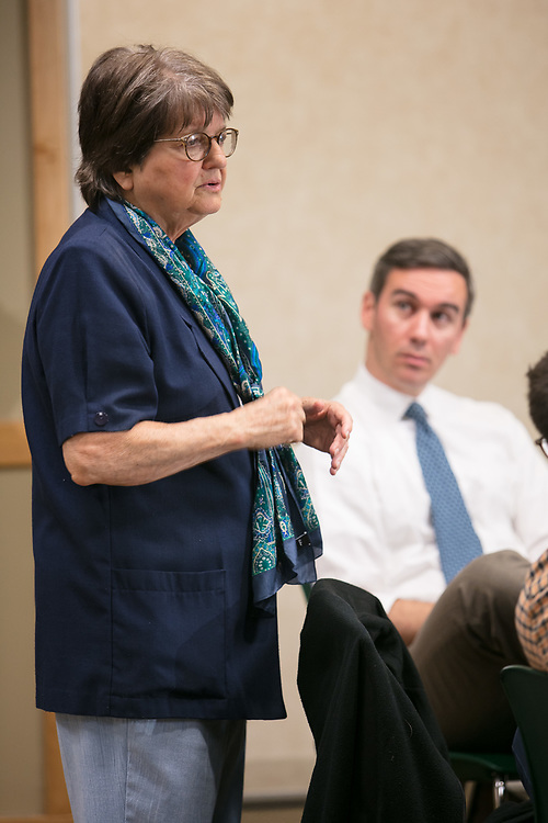 "Activist, author and anti-death penalty crusader Sister Helen Prejean, C.S.J., talks with a small gathering of faculty, staff and students during a breakfast Wednesday, April 19, 2017, at DePaul University's Lincoln Park Campus. Prejean is the author of the widely acclaimed book ""Dead Man Walking"" and is known for her work as an educator about the death penalty and counselor for death row inmates.The event was hosted by the Department of Catholic Studies. (DePaul University/Jeff Carrion)"