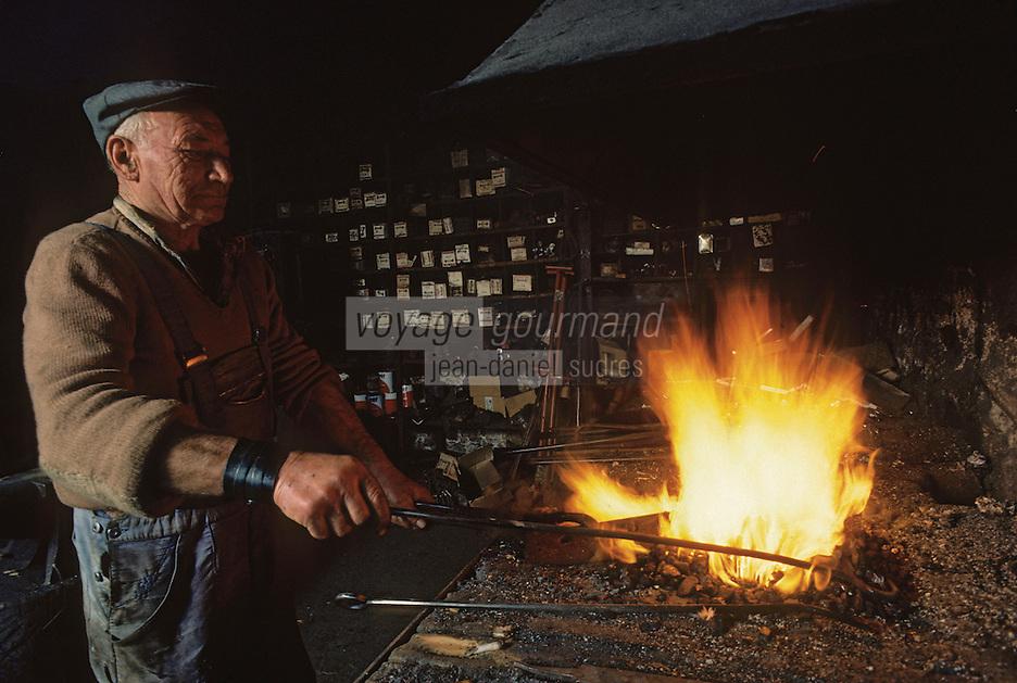 Europe/France/Limousin/23/Creuse/Saint-Sulpice-les-Champs: Forgeron au Donzeil [Non destiné à un usage publicitaire - Not intended for an advertising use] PHOTO D'ARCHIVES // ARCHIVAL IMAGES<br /> FRANCE 1990