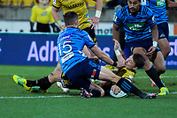 Beauden Barrett scores during the Super Rugby match between the Hurricanes and Blues at Westpac Stadium in Wellington, New Zealand on Saturday, 7 July 2018. Photo: Dave Lintott / lintottphoto.co.nz