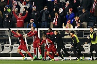 Chester, PA - Friday December 08, 2017: The Indiana University bench celebrates at the final whistle The Indiana Hoosiers defeated the North Carolina Tar Heels 1-0 during an NCAA Men's College Cup semifinal soccer match at Talen Energy Stadium.