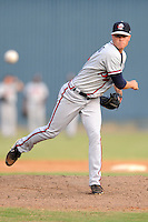 Rome Braves pitcher Shae Simmons #5 delivers a pitch during game one of a double header against the Asheville Tourists at McCormick Field on June 4, 2013 in Asheville, North Carolina. The Braves won the game 5-3. (Tony Farlow/Four Seam Images)