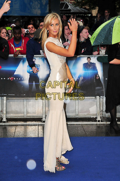 Lady Victoria Hervey<br /> 'Man Of Steel' UK film premiere, Empire cinema, Leicester Square, London, England.<br /> 12th June 2013<br /> full length silver beige silk satin dress side hand arm clutch bag <br /> CAP/BF<br /> &copy;Bob Fidgeon/Capital Pictures