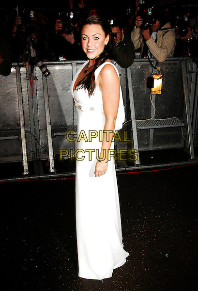 MICHELLE HEATON .Michelle Heaton is the third celebrity to be evicted from the 2009 Celebrity Big Brother House, Borehamwood, Herts, England, 19th January 2009..full length long white maxi dress plait hair in braid .CAP/TTL .©TTL/Capital Pictures