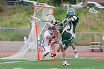 Palos Verdes, CA 04/20/10 - Grant Cigliano (Palos Verdes #5) and Chris O'Brien (Mira Costa #22) in action during the Mira Costa-Palos Verdes boys lacrosse game.
