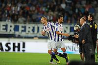 VOETBAL: HEERENVEEN: Abe Lenstra Stadion 29-08-2015, SC Heerenveen - PEC Zwolle, uitslag 1-1, Mitchel Te Vrede (#9) en Henk Veerman (#20), teammanager Herman van Dijk, ©foto Martin de Jong