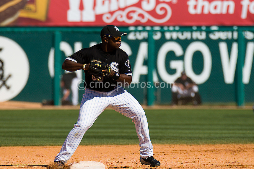 Mar 19, 2008; Tucson, AZ, USA; Chicago White Sox shortstop Jason Bourgeois (68) attempts to turn a double play in the top of the 6th inning during a game against the Colorado Rockies at Tucson Electric Park.  The game ended in a 10-10 tie.