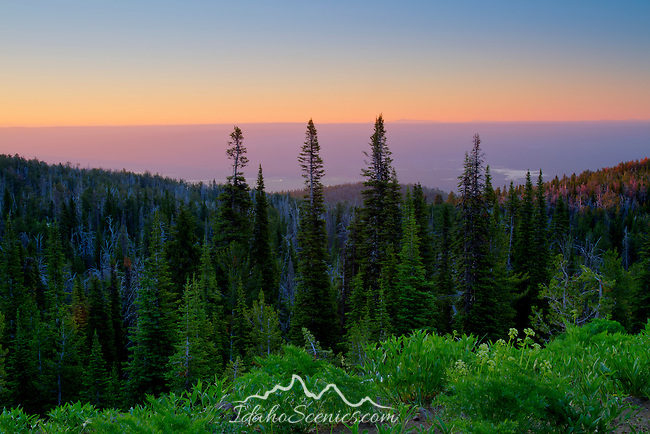 Idaho, Eastern, Caribou-Targhee National Forest. Island Park Resevoir and forested ridges in the Caribou-Targhee National Forest as seen at dawn from Sawtell Peak.