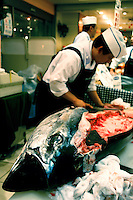 Fresh Raw Fish, A tuna is being expertly slaughtered for today's fresh sashimi and sushi.