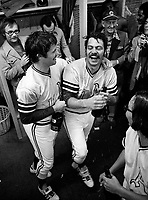 Oakland A's celebrate 1972 World Series win in Cincinnate, Ted Kubiak and Dick Green (1972 photo/Ron Riesterer)