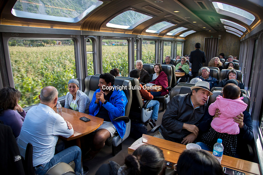 Visitors take the Peru Rail train to Agua Calientes which is the town at the bast of Machu Pich in Cusco, Peru.