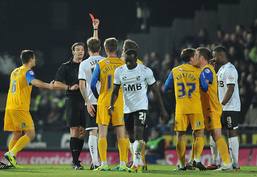Preston North End's Neil Kilkenny is red carded by referee A Madley<br /> <br /> Photo by Dave Howarth/CameraSport<br /> <br /> Football - The Football League Sky Bet League One - Port Vale v Preston North End - Tuesday 26th November 2013 - Vale Park - Burslem<br /> <br /> &copy; CameraSport - 43 Linden Ave. Countesthorpe. Leicester. England. LE8 5PG - Tel: +44 (0) 116 277 4147 - admin@camerasport.com - www.camerasport.com