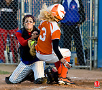 WEST HAVEN, CT - 08 JUNE 2010 -060810JT06-<br /> Terryville's Beth Grimes is out at home by Coginchaug catcher Mallorie Dorflinger during Tuesday's Class S semifinal game at West Haven. Terryville won, 2-0.<br /> Josalee Thrift Republican-American