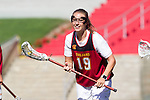 Los Angeles, CA 04/22/16 - Hayley Kerr (USC #19) in action during the NCAA Stanford-USC Division 1 women lacrosse game at the Los Angeles Memorial Coliseum.  USC defeated Stanford 10-9/