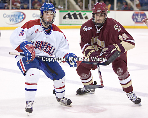 Nick Monroe, Brian Boyle - The University of Massachusetts-Lowell River Hawks defeated the Boston College Eagles 6-3 on Saturday, February 25, 2006, at the Paul E. Tsongas Arena in Lowell, MA.