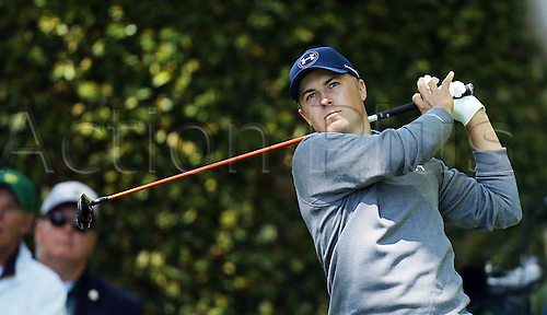 09.04.2016. Augusta, GA, USA.  Jordan Spieth plays his shot from the 2nd tee during the third round of the 80th Masters at the Augusta National Golf Club in Augusta, Ga., on Saturday, April 9, 2016