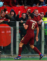 Calcio, Serie A: Lazio vs Roma. Roma, stadio Olimpico, <br /> Roma&rsquo;s Kevin Strootman celebrates after scoring during the Italian Serie A football match between Lazio and Rome at Rome's Olympic stadium, 4 December 2016. Roma won 2-0.<br /> UPDATE IMAGES PRESS/Riccardo De Luca