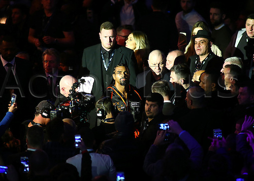 March 4th 2017, O2 Arena, London England; Heavyweight Boxing David Haye versus Tony Bellew; David Haye makes his way to the ring for his Heavyweight contest fight with Tony Bellew