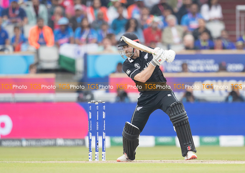 Kane Williamson (New Zealand) forces through point during India vs New Zealand, ICC World Cup Semi-Final Cricket at Old Trafford on 9th July 2019