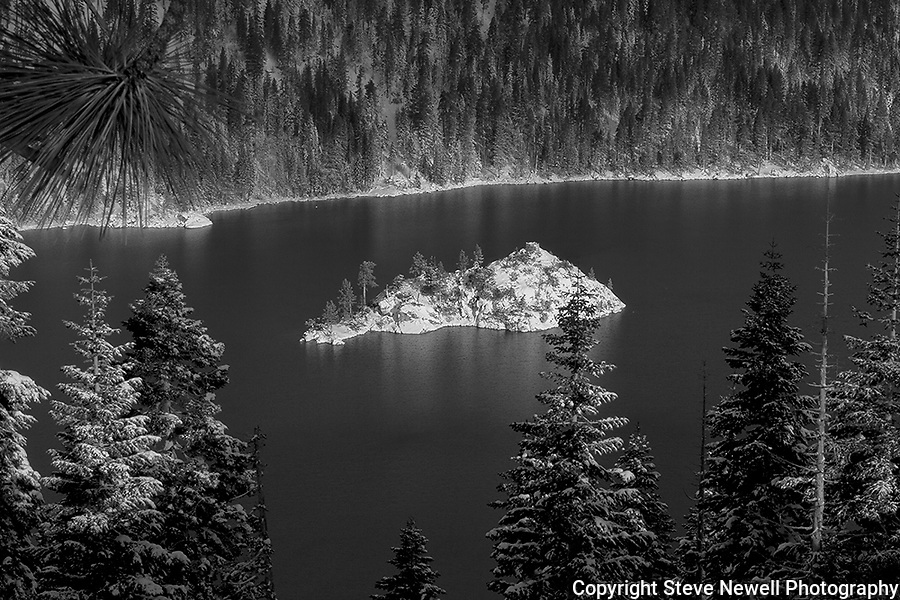 """Inspiration"" Black and White.  I captured this image of Fannette Island located in Emerald Bay, South Lake Tahoe during the winter in December 2012.  The road was closed so I hiked out to Inspiration Point at Emerald Bay on Christmas Eve after a huge snowstorm capturing the island completely covered with fresh snow.  I have a series of four photographs posted that range from a close up of Fannette Island to the wide angle that includes more of Emerald Bay and Lake Tahoe. Winter Tea Castle, Fannette Freshies, Inspiration, and White Christmas."