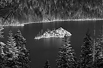 """""""Inspiration"""" Black and White.  I captured this image of Fannette Island located in Emerald Bay, South Lake Tahoe during the winter in December 2012.  The road was closed so I hiked out to Inspiration Point at Emerald Bay on Christmas Eve after a huge snowstorm capturing the island completely covered with fresh snow.  I have a series of four photographs posted that range from a close up of Fannette Island to the wide angle that includes more of Emerald Bay and Lake Tahoe. Winter Tea Castle, Fannette Freshies, Inspiration, and White Christmas."""