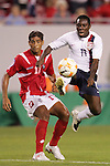 13 March 2008: Freddy Adu (USA) (11) wins a ball in front of Manuel Bonilla (PAN) (17). The United States U-23 Men's National Team defeated the Panama U-23 Men's National Team 1-0 at Raymond James Stadium in Tampa, FL in a Group A game during the 2008 CONCACAF's Men's Olympic Qualifying Tournament.