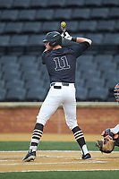 Shane Muntz (11) of the Wake Forest Demon Deacons at bat against the Virginia Cavaliers at David F. Couch Ballpark on May 18, 2018 in  Winston-Salem, North Carolina.  The Cavaliers defeated the Demon Deacons 15-3.  (Brian Westerholt/Four Seam Images)