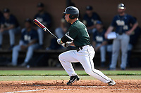 Left fielder Pat Raiff (8) of the University of South Carolina Upstate Spartans bats in a game against the Pittsburgh Panthers on Saturday, February 24, 2018, at Cleveland S. Harley Park in Spartanburg, South Carolina. Pittsburgh won, 3-1. (Tom Priddy/Four Seam Images)